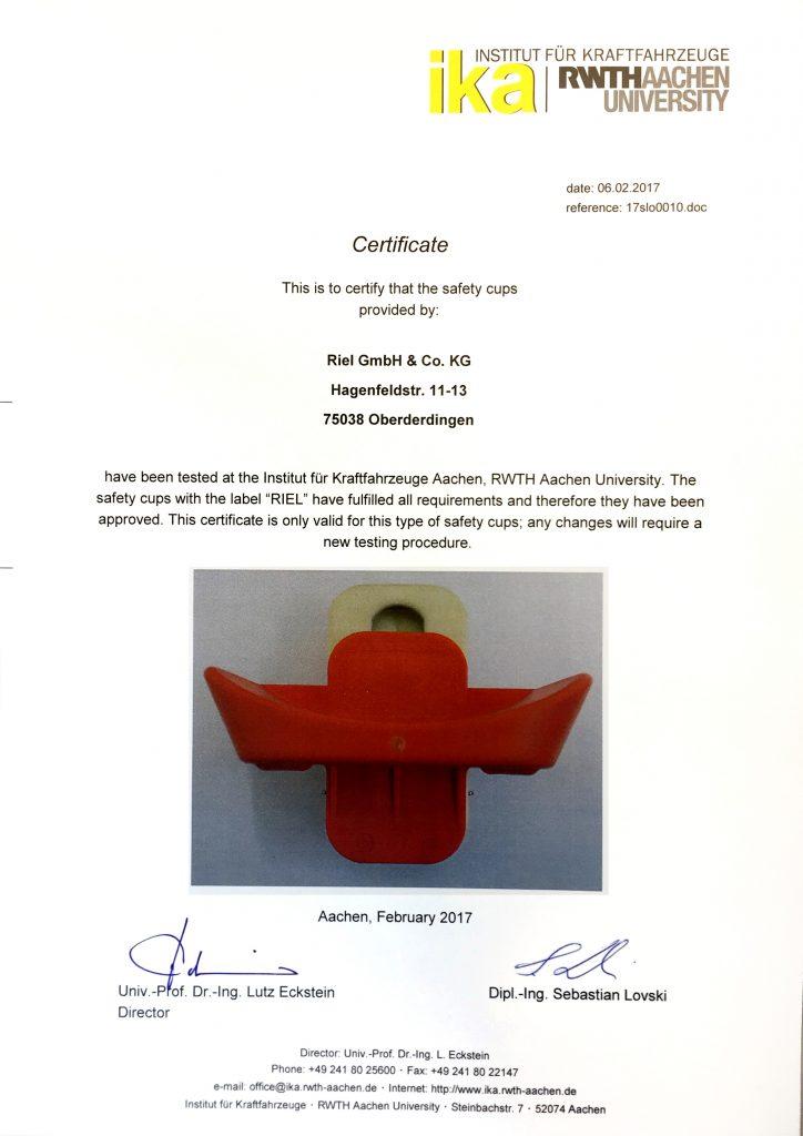 Zertifizierung für die 18mm Sicherheitsauflage
